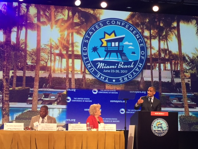 Dr. John Agwunobi addresses more than 300 U.S. mayors at the United States Conference of Mayors in Miami, Florida.