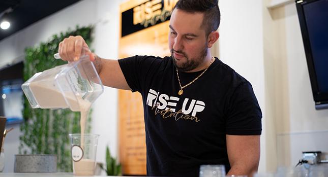 Making a formula 1 shake at a nutrition club