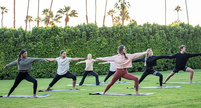 Doing yoga outdoors