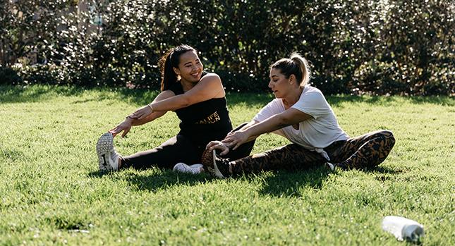 Connie and Tara exercising