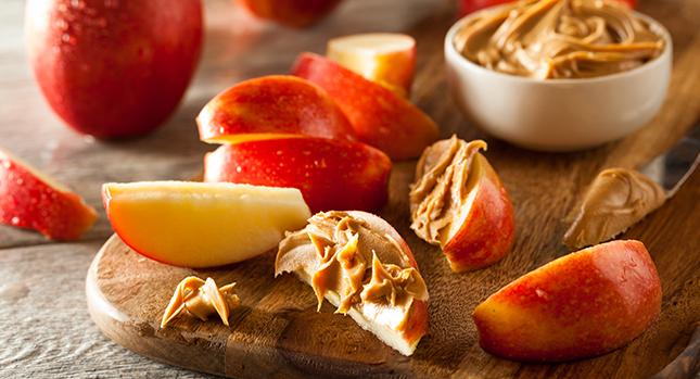 Peanut butter on apple slices