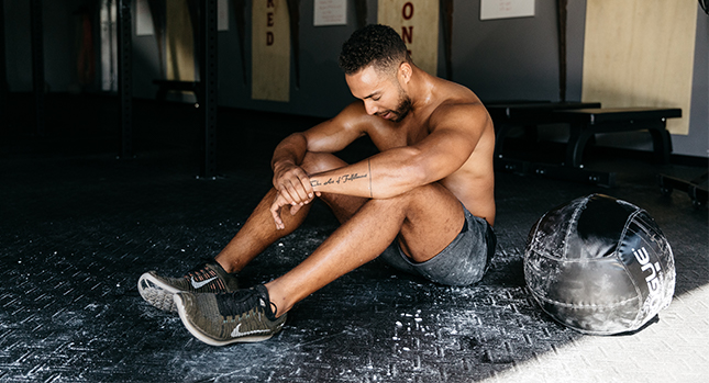 An athlete practicing mindfulness